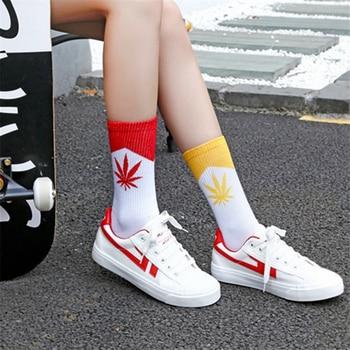 New Summer Cotton Women Socks Harajuku Maple Leaf Pattern Sock Skate Board Hip Hop Funny Socks Female Socks Meias High Quality Women Socks