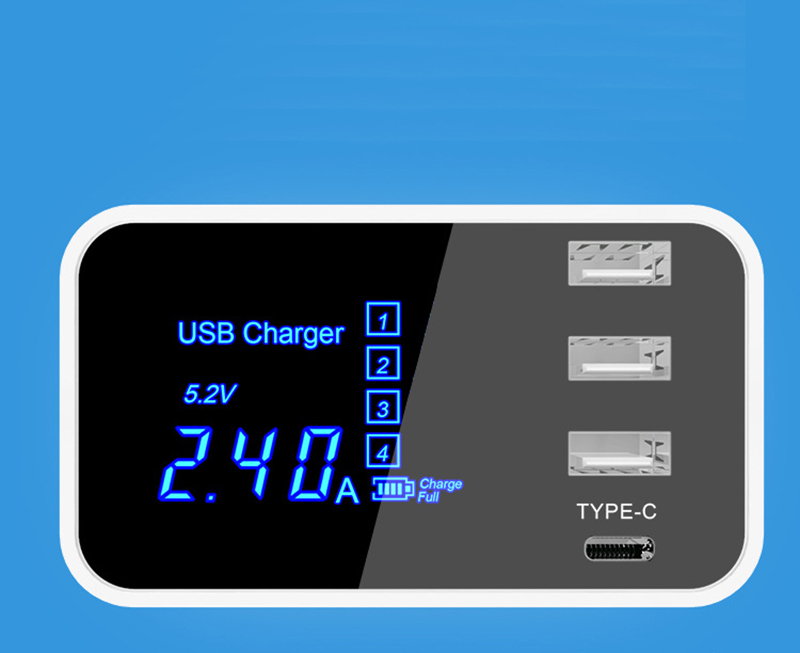 Thbelieve 3 USB Multi Charger 5V 2.4A USB Type C Desktop Chargers Mobile Phone USBC Charging LED Digital Chargers For Tablet (17)