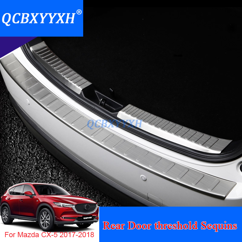 Car Styling Stainless Steel Internal And External Car Rear Door threshold Trim Decoration Accessory For Mazda CX-5 2017 2018 stainless steel car racing grills for mazda cx 5 2013 2016 front grill grille cover trim car styling