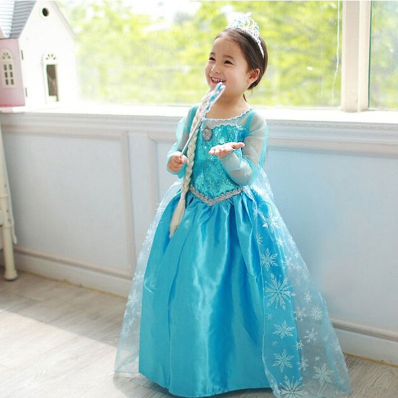 New Arrival Dresses Girls Princess Anna Elsa Cosplay Costume Kid's Party Dress  Kids Girls Clothes