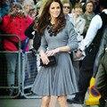 2016 verano moda Kate Middleton Mismo Estilo Princesa marca trabajo hecho a mano Stick flor de las mujeres Elegantes de Cuello de manga larga vestido plisado