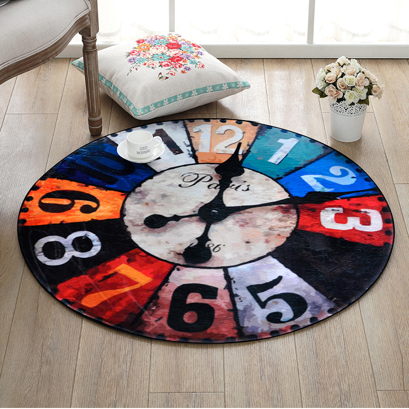 European andAmerican Creative Retro Clock Circular Carpet Bedroom Livingroom Hanging Basket Round Mat Computer Chair Cushion