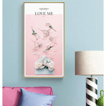 HAOCHU Nordic Vertical Personality Poster LOVE ME Pink Flower Envelope Canvas Print Wall Art Home Decoration Painting Mural