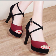 2019 Summer new Clear heels super high heel with one-word buckle fashion hundred sandals