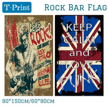 Free shipping 90X150CM 60*90cm Punk Rock Polyester Flag For Music Bar Band Home Office 3x5ft Banner free shipping gulf cooperation council flag 90x150cm 60 90cm polyester 3x5ft banner