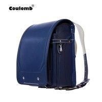 Coulomb мальчик синий рюкзак для детей школьная сумка Японский PU Hasp одноцветное высокое качество малыш Randoseru ортопедические рюкзаки 2018