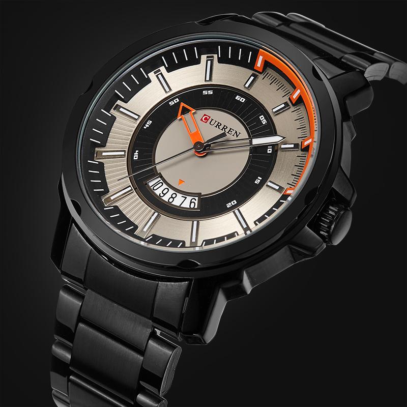 Prix pour 2017 NOUVEAU CURREN Marque De Luxe Hommes Militaire Montres Hommes de Quartz Date Horloge Mâle De Sport En Acier Plein montre-Bracelet Relogio Masculino