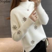 Neploe de copo de nieve de cuello alto suéter de las mujeres de estilo  Preppy jerseys ef5667e2531f