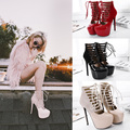 Sexy Streetwear Women Party Clubwear Fetish Shoes Platform Stripper Ultra Very High Heel Pin Thin Ankle Boots Gladiator Sandals