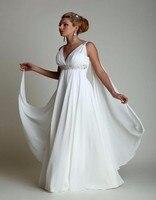 Greek Style Wedding Dress 2016 With Watteau Train 2016 V Neck Long Chiffon Beach Maternity Bride