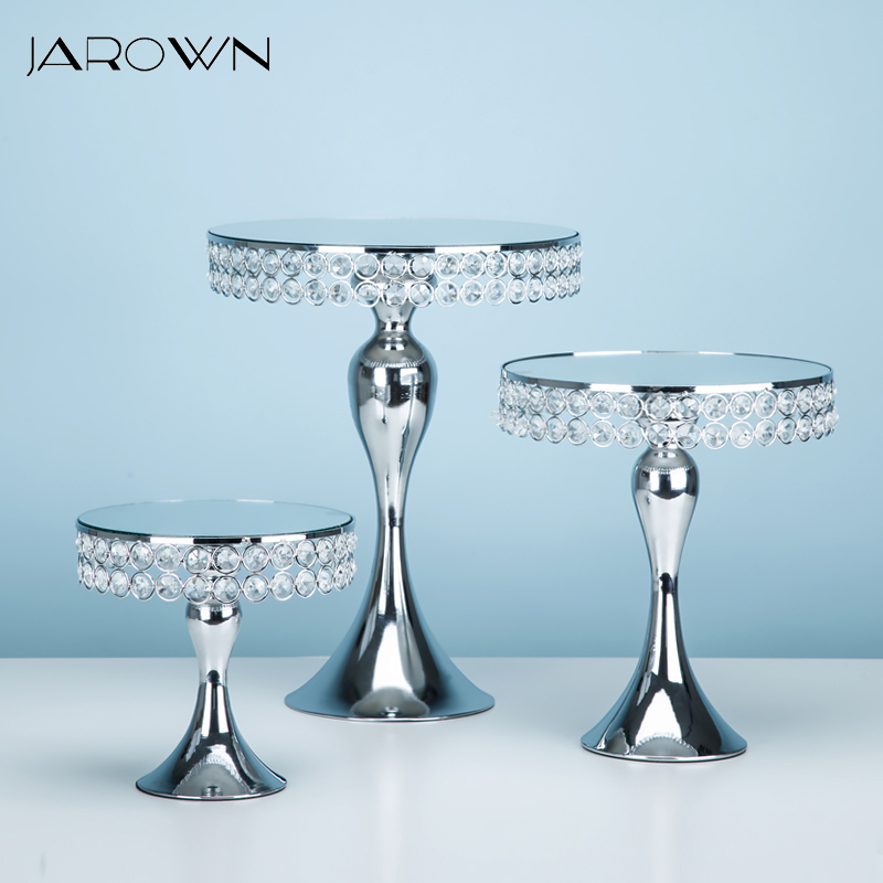 JAROWN European Silver Mermaid Metal Cake Stand Home Party Cake Tray Fruit Plate Decorations Wedding Dessert