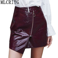 New 2019 Sexy Women Bodycon Skirt Top Quality PU Leather Mini Short Skirt Black Clasical Style Design American Skirt Hot LX126