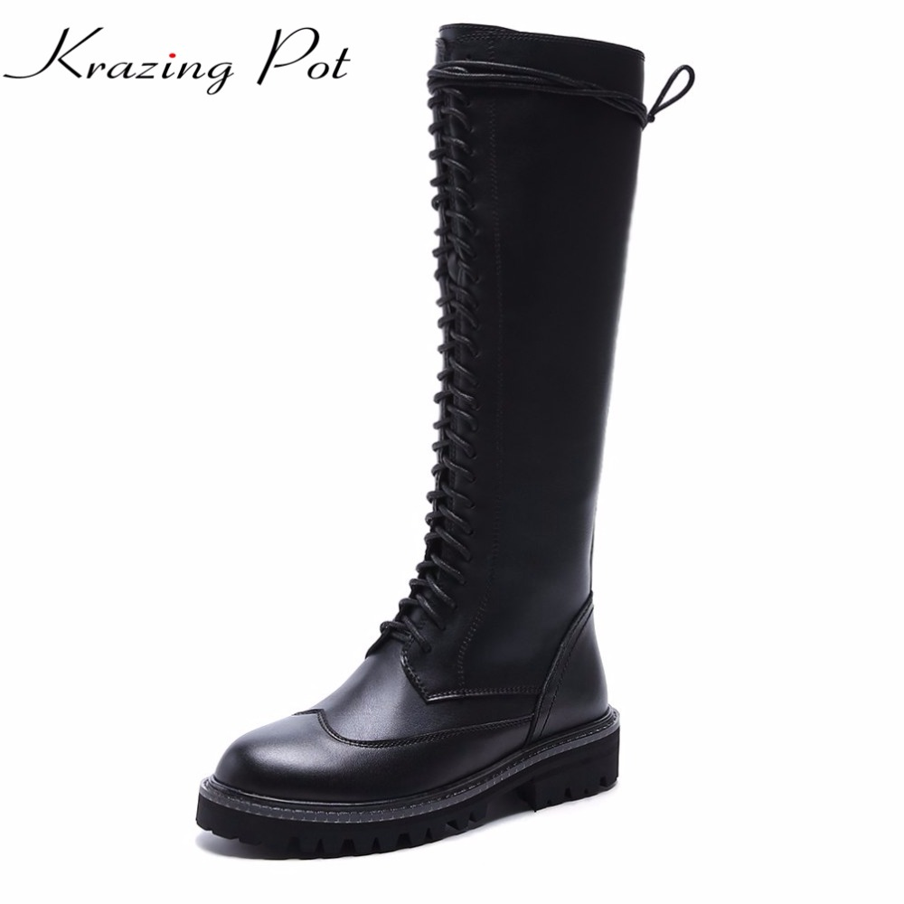 купить Krazing pot Cow leather round toe med heels Chelsea boots punk lace up riding boots keep warm office lady thigh high boots L33 недорого