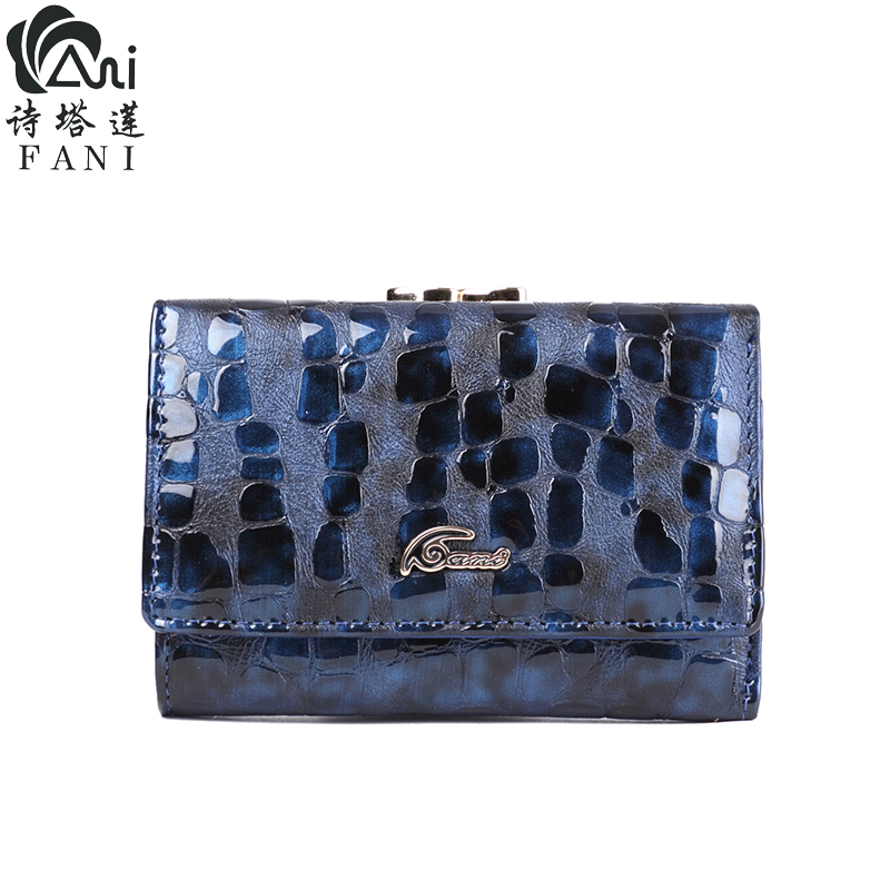 FANI High Quality Genuine Leather Women Leather Mini Wallet Leather Coin Purse Coin Credit Card Holder Stone Grain Short Wallet