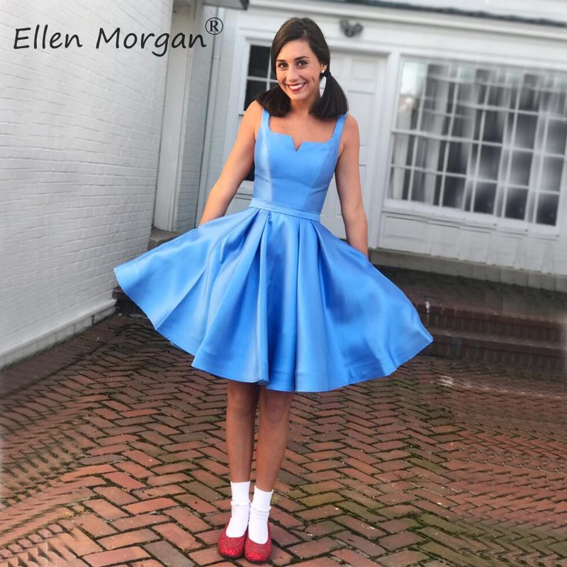 Simple Short Satin Cheap Homecoming Dresses 2019 Knee Length Party Cocktail Gowns Vestidos De Festa Back