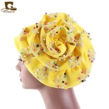 Fashion Women Luxury Muslim Hijab Beaded King Flower Turban Headwrap Chemo Turban Ladies Bandanas Hair Accessories