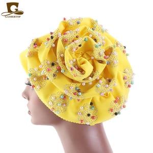 Image 1 - Fashion Women Luxury Muslim Hijab Beaded King Flower Turban Headwrap Chemo Turban Ladies Bandanas Hair Accessories