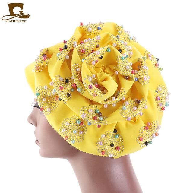 Moda feminina de luxo muçulmano hijab frisado rei flor turbante headwrap quimio turbante senhoras bandanas acessórios para cabelo