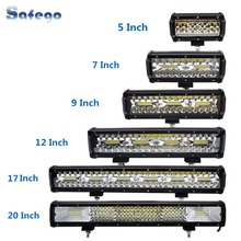 Safego 7 pouces 120W barre de lampe led tout terrain 5 9 12 17 20 pouces 84W 240W 360W 384 led lumière de travail voiture 4WD camion 4x4 SUV ATV 12V