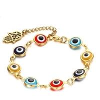 Hamsa Hand Turkey Evil Eye Bracelet Stainless Steel Gold Plated Fashion Bracelet Chain Lobster Clasp