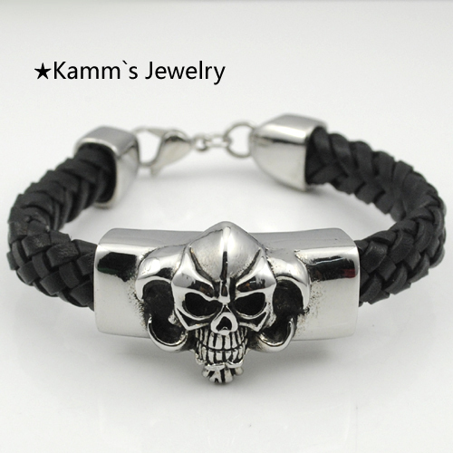 Punk skull bracelet pingente letra Charms Leather Rope 316L Black Silver Stainless steel european bracelet christmas islam KB566