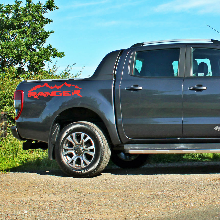 2pc car stickers rear trunk mountain stripe graphic vinyl car stickers car accessories decals for Ford Ranger 2012 2017 in Car Stickers from Automobiles Motorcycles