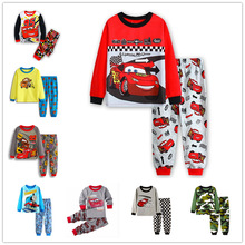 Купить с кэшбэком Baby boy clothes Kids Cotton Pajamas Children Sleepwear Baby Pajamas Sets Boys cartoon long-sleeved car pyjamas cotton nightwear