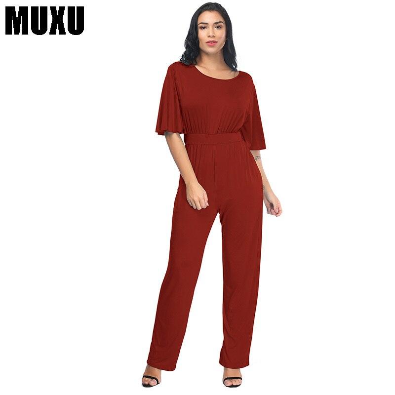 MUXU модные летние длинные черные Комбинезон тела feminino комбинезоны, женский комбинезон длинные штаны уличная Комбинезоны для женщин 2018 новая