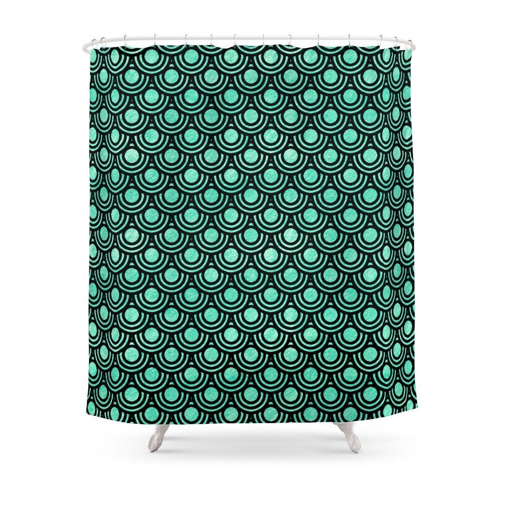 Mermaid Scales In Metallic Sea Foam Green Shower CurtainSet Bath Curtain For Bathroom With Non-slip Floor Mat