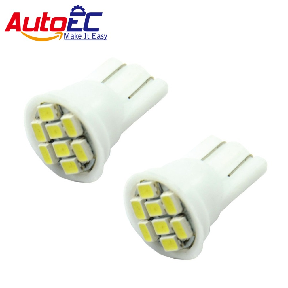 AutoEC <font><b>100X</b></font> <font><b>T10</b></font> 194 168 192 W5W 8smd led 1206 Auto car led wedge lamp light bulbs white red yellow blue pink green 12V #LB04 image