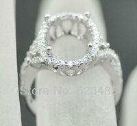 SOLID 14 K белое золото 10x13 мм овальной огранки полу крепление кольцо с натуральным бриллиантом