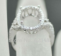 SOLID 14K WHITE GOLD 10x13MM OVAL CUT SEMI MOUNT NATURAL DIAMOND RING