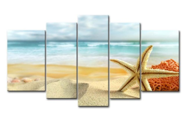 5 Piece Wall Art Painting Starfish And Coral In The Beach Prints On ...