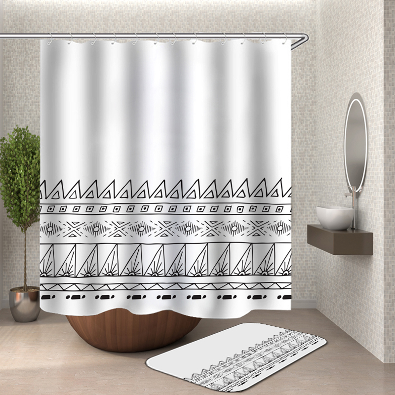 Nordic Black And White Stripe Pattern 3d Shower Curtain ...