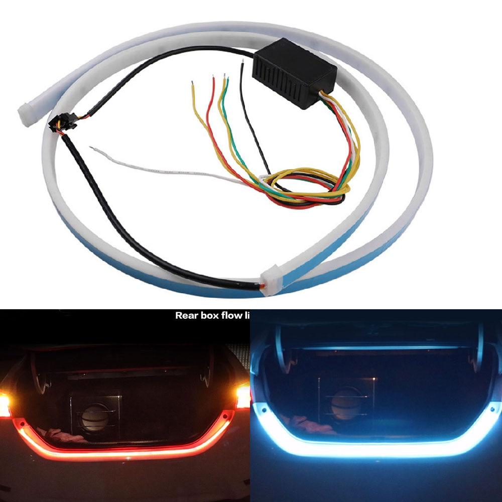 1set Flexible Tube Flow Light Rear Tail Box Lights Streamer Brake Turn Signal LED Lamp Strip