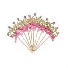 10 шт./лот, украшения для первого дня рождения, вечерние украшения для маленьких мальчиков и девочек, золотые/серебряные топперы для кексов, корона принцессы, топперы для торта