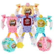 Kids Trasformation Robot Watch Toy Digital Electronic Wristwatch Children Smart Sports Cartoon Xmas Gifts Cute Girl Boys