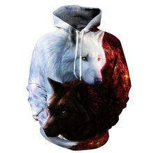 2018 Animals Men/women 3d Sweatshirts With Hat Print White Black Wolf Hooded Hoody