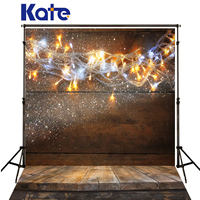 Kate Background Photography Christmas Colour Lights Spot Fond De Studio De Dark Wood Texture Floor Digitally Printed Backdrops