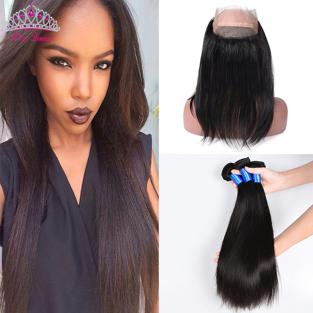 Pre Plucked 360 Lace Frontal With Bundle Silk Straight 8A Malaysian Virgin Hair 4PCS 360 Lace Frontal With Bundle With Baby Hair