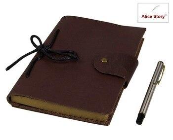 Cahier en cuir Vintage papier Kraft A5 taille 8.5 pouces cadeau Journal Journal voyageur cahier fournitures scolaires cahier