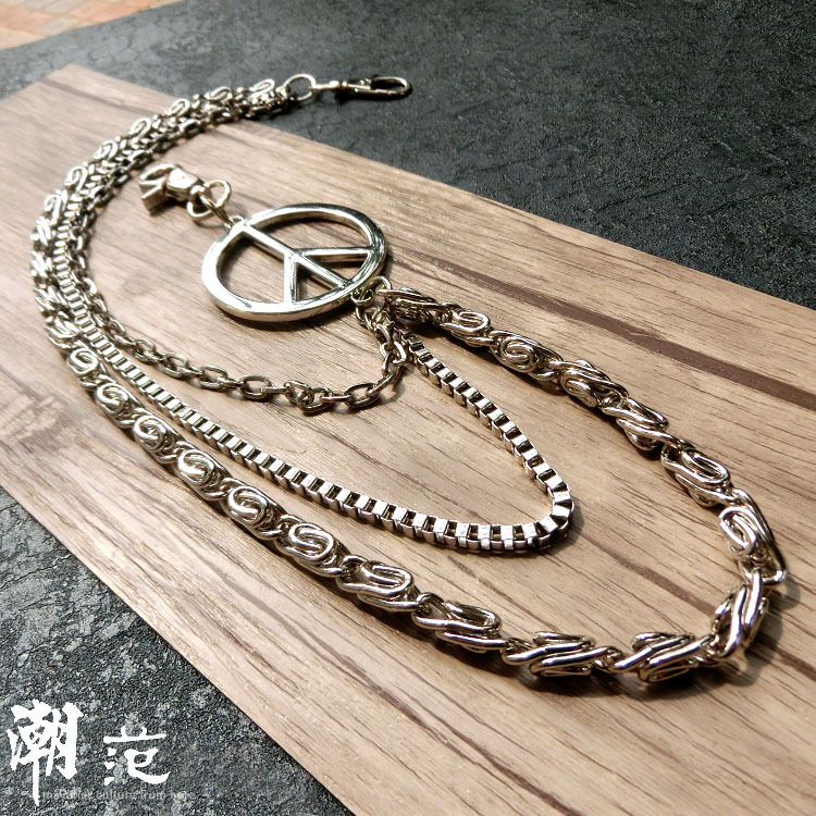 2018 Mens Motorcyle Keychain Jean Biker Wallet Chains Three Layers Hinges Belt Chain Rock Punk Hiphop Pant Trousers Chain