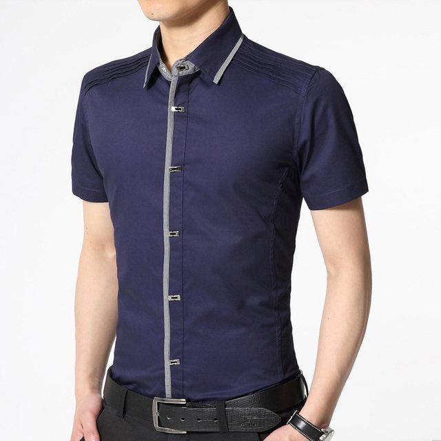 Online Shop 100% Cotton Office Mens Dress Shirts New Design Slim ...