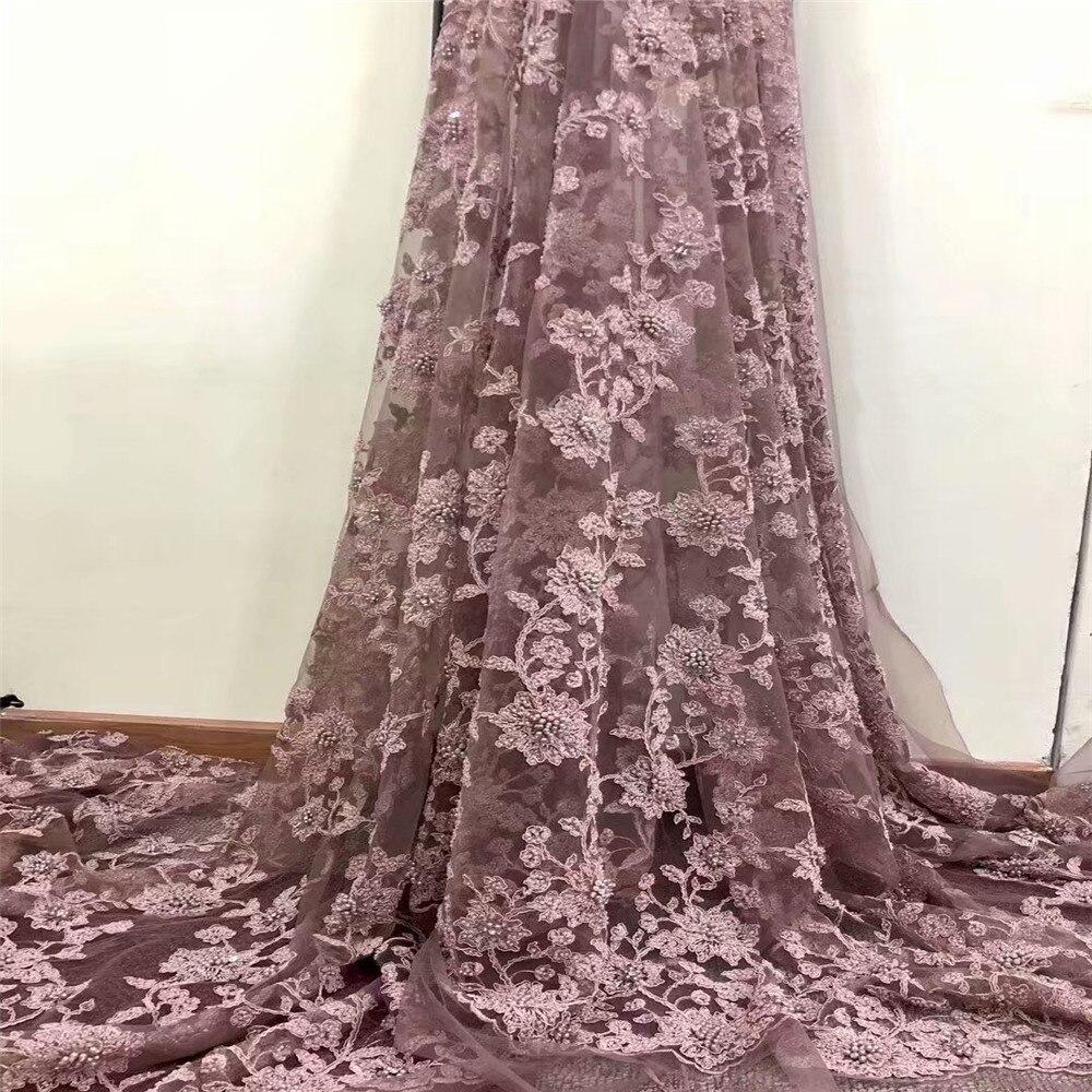 Кружевное платье, розовое, с бусинами, французский стиль, большие камни, для вечеринки, свадьбы, кружевной ткани, 5 ярдов, вуаль, тюль, кружевн