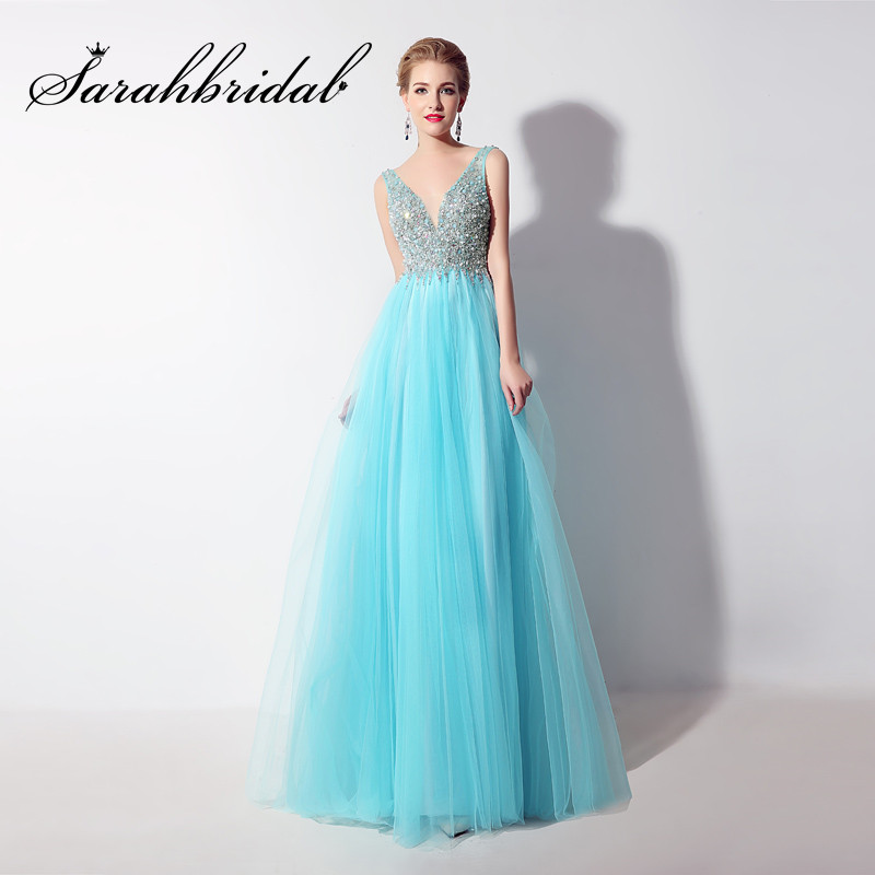 Sexy Backless Long Evening Dresses Cheap Sheer V Neck Beaded Pearls Mint Tulle Prom Party Gowns Floor Length Vestido CC066