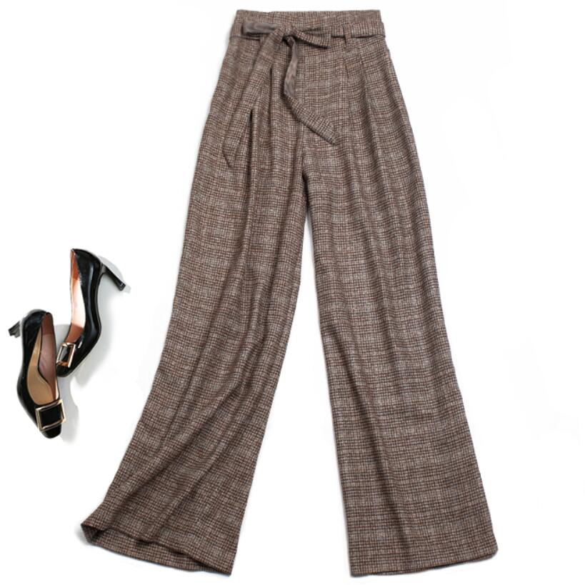 Winter warm Retro Plaid Wool Trousers   Wide     Leg     Pants   Zipper Full Length fashion straight   pants