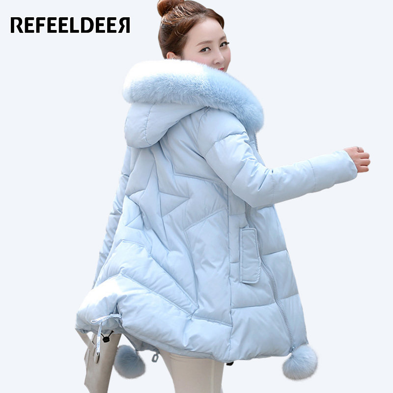 Women's Thick Warm Long Winter Jacket Women Parkas 2017 Faux Fur Collar Hooded Cotton Padded Winter Coat Female Manteau Femme bishe women winter down jacket warm long parka femme 2017 faux fur collar hooded cotton padded parkas female manteau femme 4xl