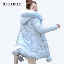 Women's Thick Warm Long Winter Jacket Women Parkas 2017 Faux Fur Collar Hooded Cotton Padded Winter Coat Female Manteau Femme