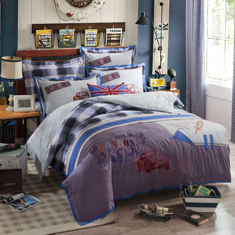 white black plaid embroidery comforter quilt bedding set king queen size cotton car bed sheet linen cartoon duvet cover