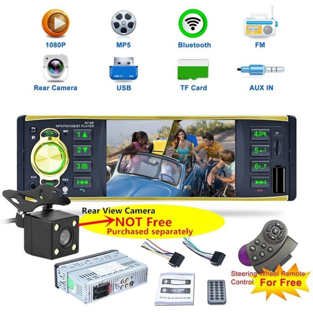 4.1 Single Din Car Radio Media MP5 Player Head Unit Bluetooth In-dash Stereo Waterproof Remote Control Car Rear View Camera